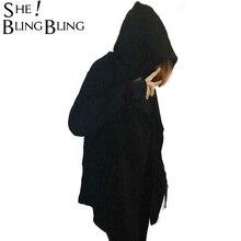 Для женщин с капюшоном черное платье Best качество хип-хоп мантии Толстовки и кофты с длинными рукавами Дизайн плащ Зимние Пальто Верхняя одежда