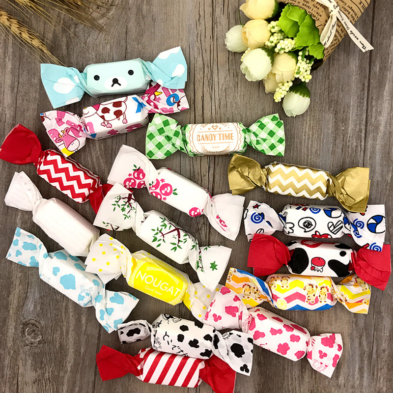 50pcs/set Cow Nougat Wrapping Paper Wedding Candy Bag Packing Paper Wrappers Food Grade OPP Varnishing Oil Paper 12.5*9cm