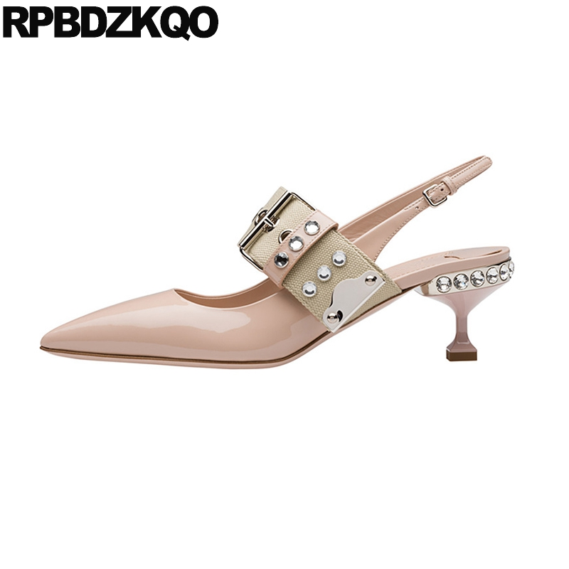 Kitten Shoes Crystal Strap Women Pointed Mary Jane Stiletto Pumps Nude Patent Leather Medium Heels Brand Rhinestone Slingback