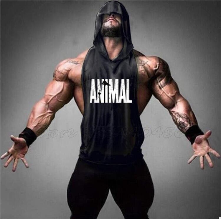 Muscleguys Brand Animal Hooded vest mens gym hoodie workout fitness vest sports   top   sleeveless sweatshirt