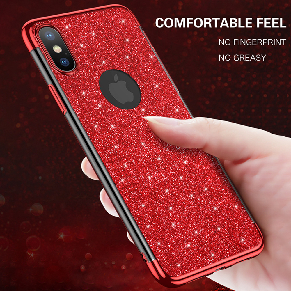 Glitter Phone Iphone XR XS MAX X 8 7 6 6S Plus Plating Clear Cases 360 Degree Protector Ultra Thin Cover