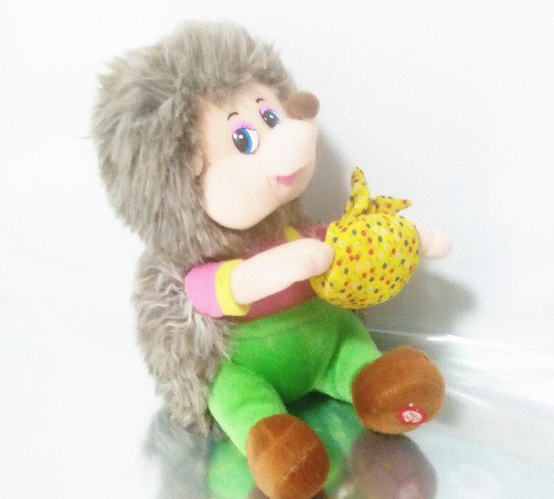 Английский пение музыка песня Маша и Медведь Ежик Плюшевые Электронные Куклы Игрушки для мальчиков для маленьких детей подарок на день рож...