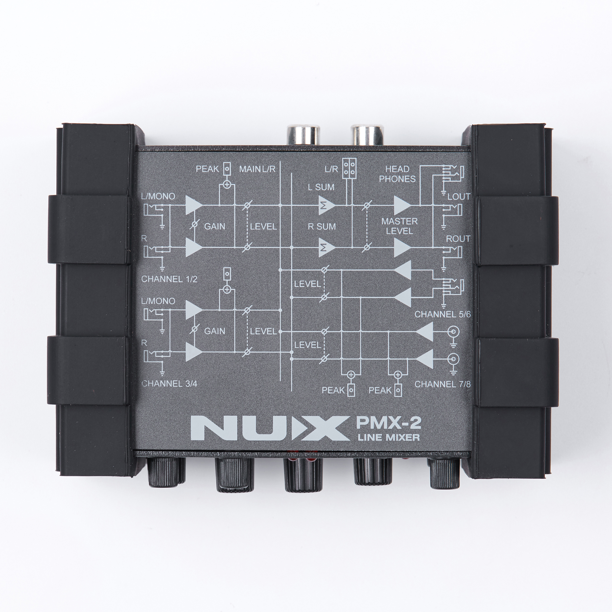 Gain Control 8 Inputs and 2 Outputs NUX PMX-2 Multi-Channel Mini Mixer 30 Musical Instruments Accessories for Guitar Bass Player nux pmx 2 new multi channel line mixer overload indicator 8 in 2 out mixer fit several audio devices for electric guitar bass