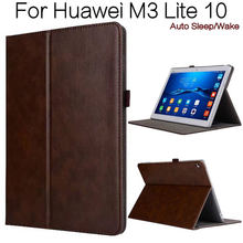 Luxury Retro Stand Smart PU Leather Cover Shell for Huawei M3 Lite 10 10.1″ Tablet Funda Case+Free Screen Protector+Stylus Pen