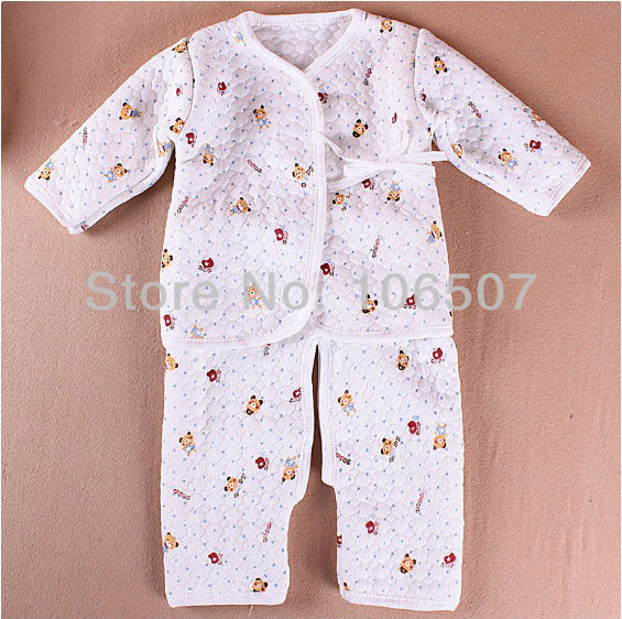 "Thickening newborn baby clothing, 2 pcs sets "" coat + split pants "" 1 sets/lot,comfortable 100% cotton wholesale"