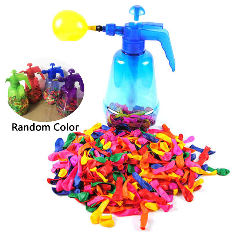 Portable Air Water Bomb Balloon Pump With 500 Pcs Balloons For Kids Party Outdoor Toy Balloons (Pump and Balloons Random Color)