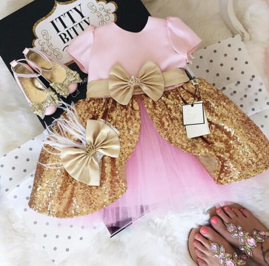 Pink golden sequins mid-calf ball gowns pageant dress for little kids glitz cute flower girl dresses for wedding formal occasion gorgeous lace beading sequins sleeveless flower girl dress champagne lace up keyhole back kids tulle pageant ball gowns for prom