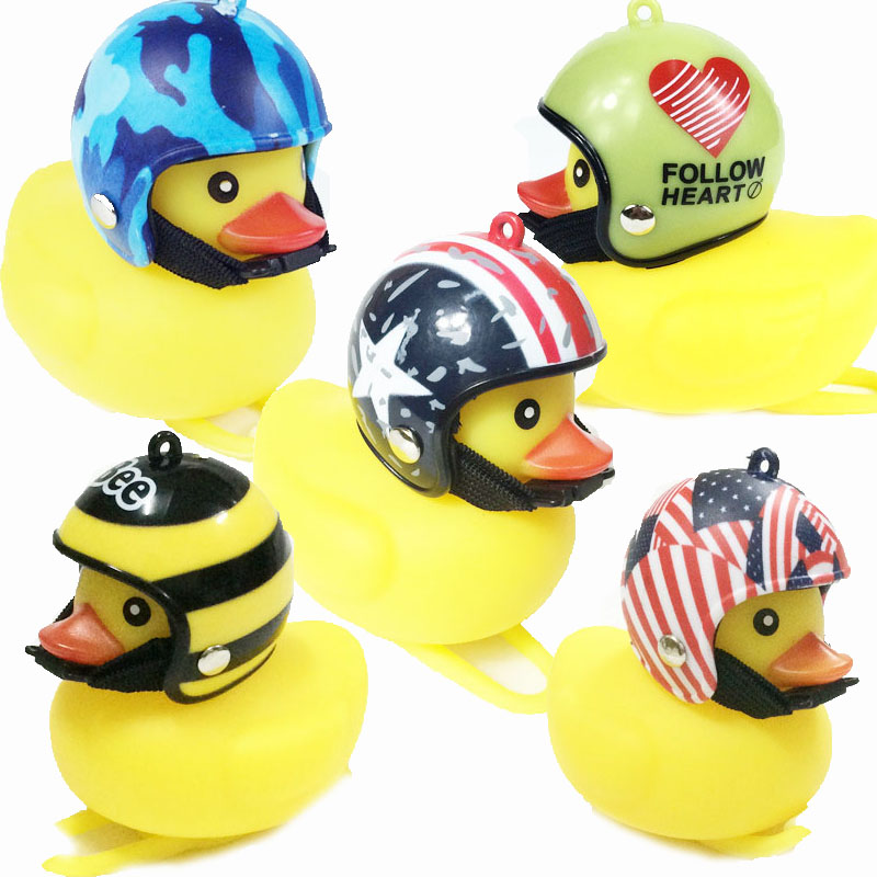 Bicycle Helmet Duck Bell With Light Broken Wind Small Yellow Duck Road Bike Motor Helmet Riding Cycling Accessories With Light