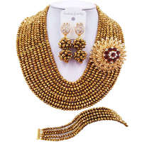 ACZUV Classic Golden Brown Nigerian Wedding Party Jewelry Sets African Beads Jewelry Set Beaded Crystal Necklace 10C DS015