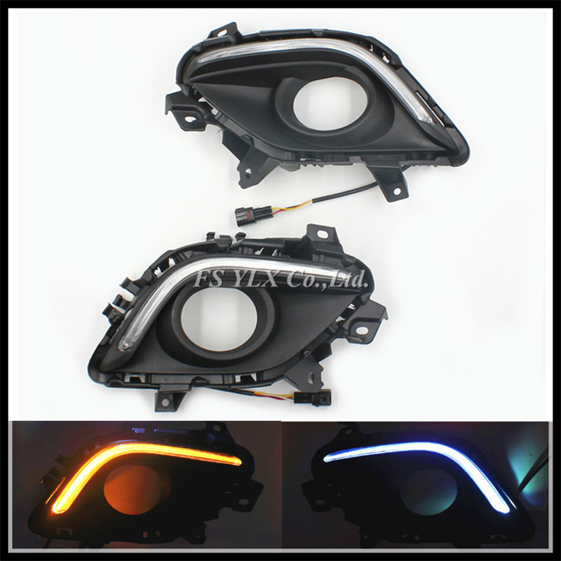 ФОТО With Auto Yellow Turning light Car DRL LED Daytime Fog Running Light Daylight DRL with turning light For Mazda 6 M6 Atenza 13-15