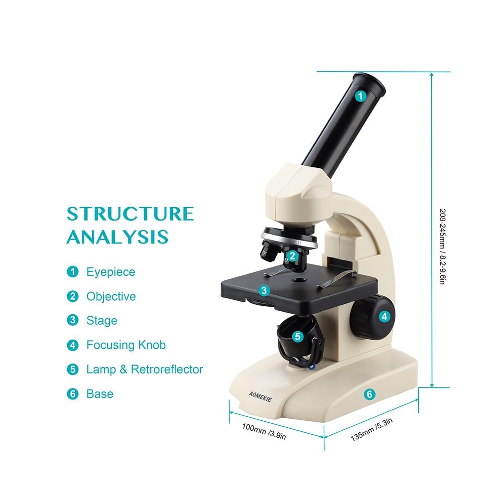 AOMEKIE monokulinis biologinis mikroskopas 70X-400X apatinių lempų - Matavimo prietaisai - Nuotrauka 5