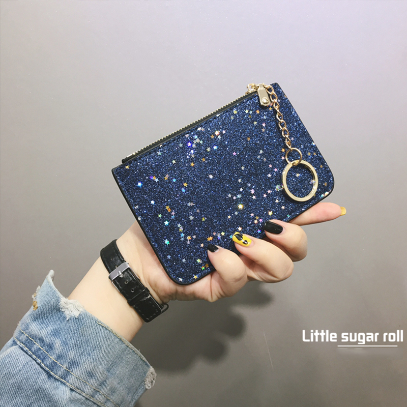 2018 Fasion Mini Wallet Bag with Sequins for Girls Paillette Kashelek Female Small Wallet Zipper Small Coin Purse SX0643