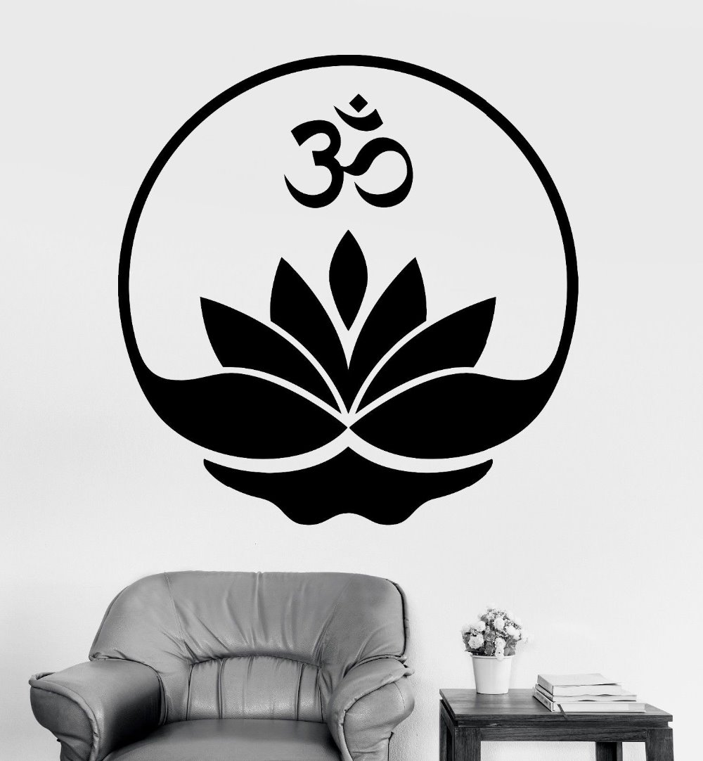 Buddhism Wall Sticker Buddha Om Symbol Zen Lotus Meditation Mural Art Decal Yoga Room Bedroom Home Decoration In Stickers From Garden On