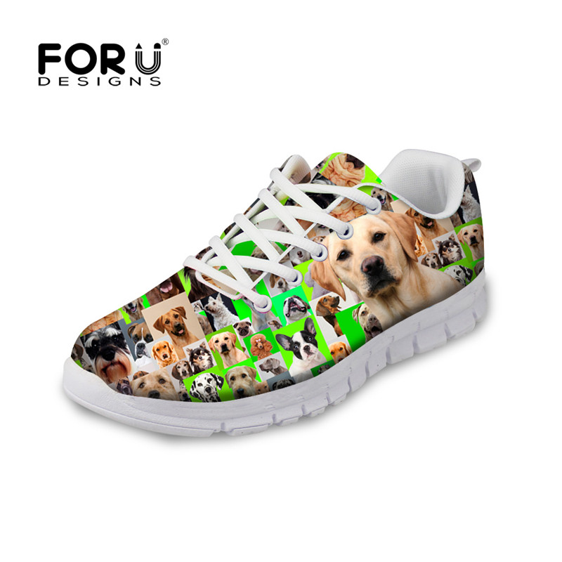 FORUDESIGNS Green Women Casual Flats Shoes Cute Pug Dog Pattern Breathable Autumn Flat Shoes Woman Lace-up Shoes for Ladies Girl women shoes flats brown coffee green blue 100