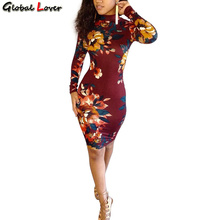 Global Lover Long Sleeve Vintage Print Flower Vestido Sexy Slim Bandage Dress Red Dress Party Backless Women Clothing