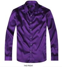 Purple Luxury the groom shirt male long-sleeve wedding shirt men's party Artificial silk dress shirt M-3XL 21 colors FZS11