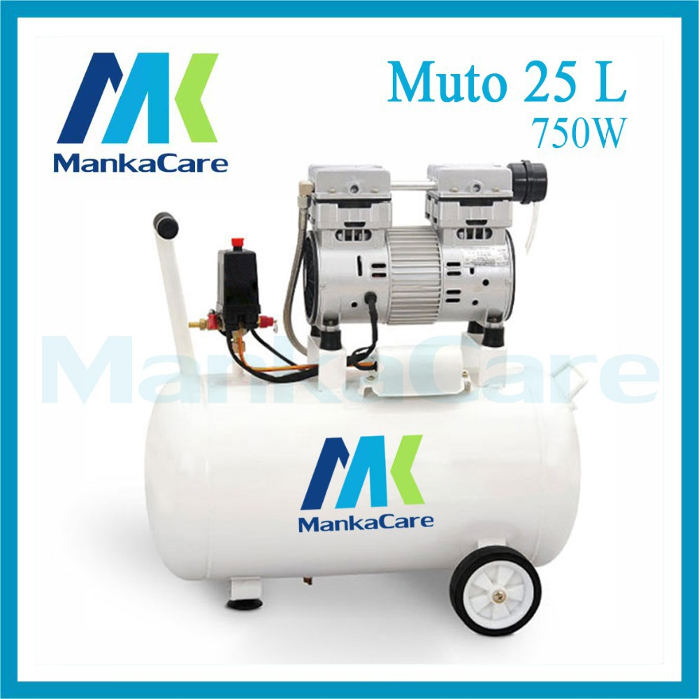 Manka Care - 25L 750W Dental Air Compressor/Printing in Tank/Rust-Proof Chamber/Silent/Oil Less/Oil Free,/Compressing Machine manka care 110v 220v ac 33l min 80 w oil free diaphragm vacuum pump silent pumps oil less oil free compressing pump