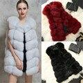 2016 New Fashion Winter Coat Clothing Sleeveless FOX Faux Fur Warm Gilet Outwear Long Slim Vest