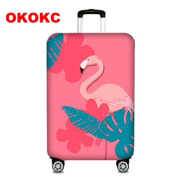"OKOKC Elastic Thickest Flamingos Luggage Cover Suitcase Protective Cover for Trunk Case Apply to 19""-32"" Suitcase Cover"