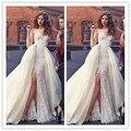 Vestidos de Novia de Novia Fuera del Hombro Cremallera Volver Apliques de Encaje Cuentas Con Tren vestido de Novia de Organza Vestidos de Novia Detachale