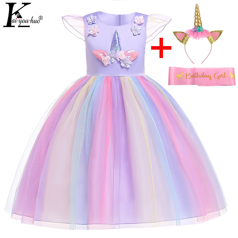 Ladies Gown Unicorn Toddler Gown Moana Costume Easter Youngsters Attire For Ladies Cosplay Princess Attire 2 three four 5 6 7 eight 9 10 Years