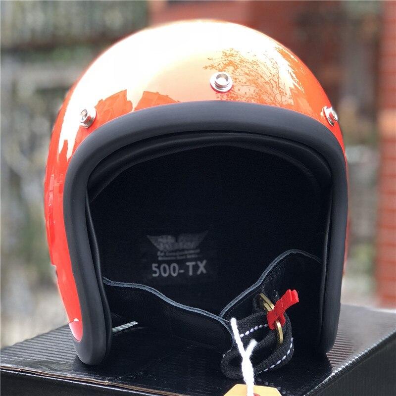 TT & CO fatto a mano retrò moto casco 3/4 Aperto Viso casco moto D'epoca stile DD anello fibbia Sottile Borsette vecchio Stile Moto - 3