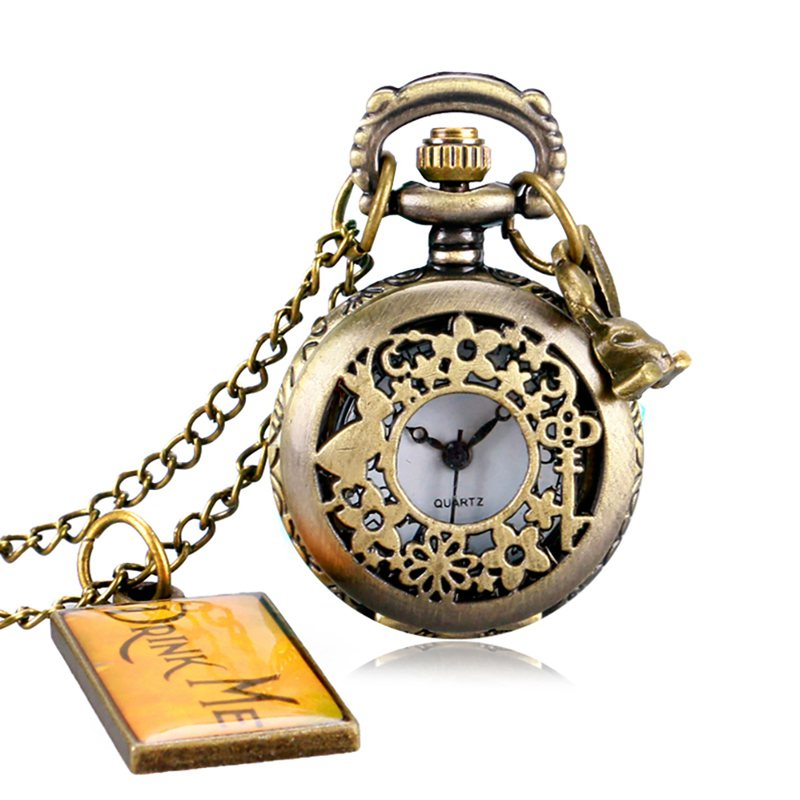 Alice in Wonderland Mad Hatter Rabbit Drink Me Tag Quartz Pocket Watch Dark Brown Glass Necklace Pendant Gifts for Women Girls in Pocket Fob Watches from Watches