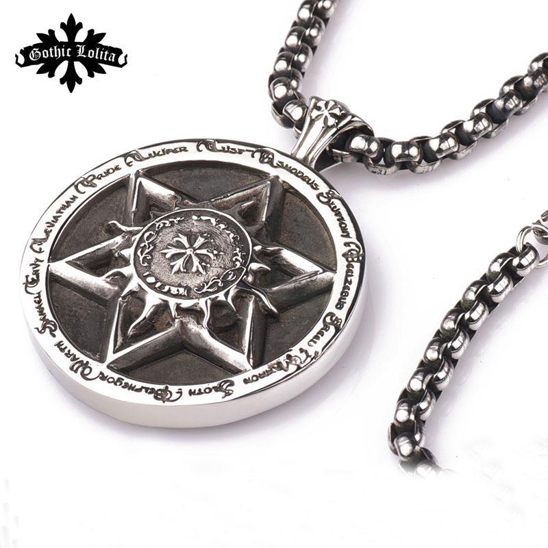 Vintage Cross Hexagram And 12 Constellation Stainless Steel Big Round Twelve Constellation Pendant For Men And