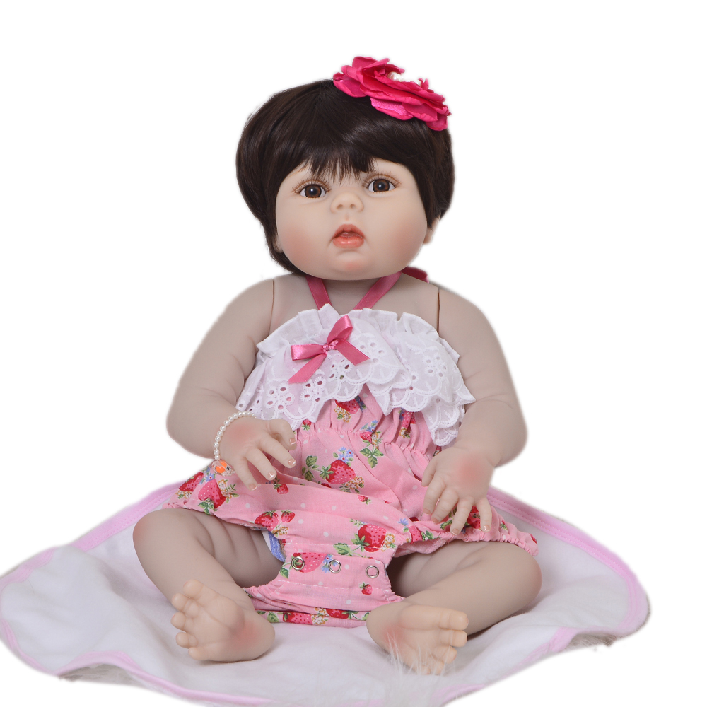 New Style 23 Realistic Princess Reborn Girl Doll Wholesale Full Silicone Body Wig Hair Alive Baby