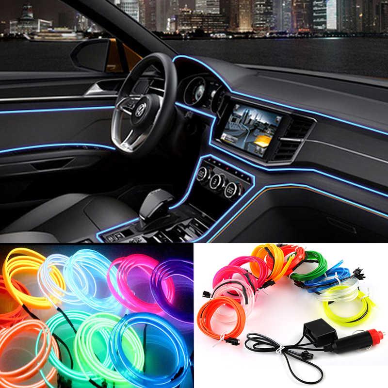 2m/3m/5m luces LED frías de coche 12V luces flexibles de neón EL cable Auto lámparas en tiras de luz fría de coche línea decoración Interior tira de luces