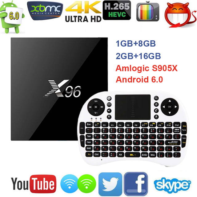 X96 Android 6.0 TV Box Amlogic S905X Max 2GB RAM 16GB ROM Quad Core WIFI HDMI 4K*2K HD Smart Set Top BOX Media Player + Keyboard