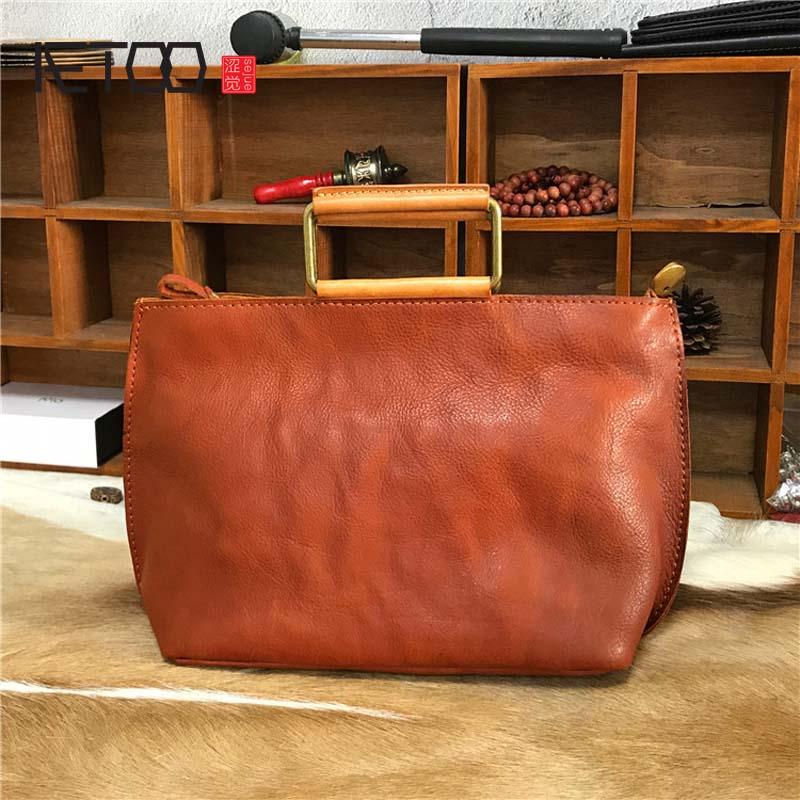 AETOO New handbags fashion retro leather handbags rose imprint ladies diagonal handbag mini shoulder bag