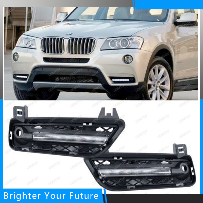 Daytime Running Lights DRL LED Fog Lamp for BMW X3 F25 2011 2012 led drl daytime running fog lights with pole for bmw 5 series f10 10 m tech m technik daylight fog led head lamp