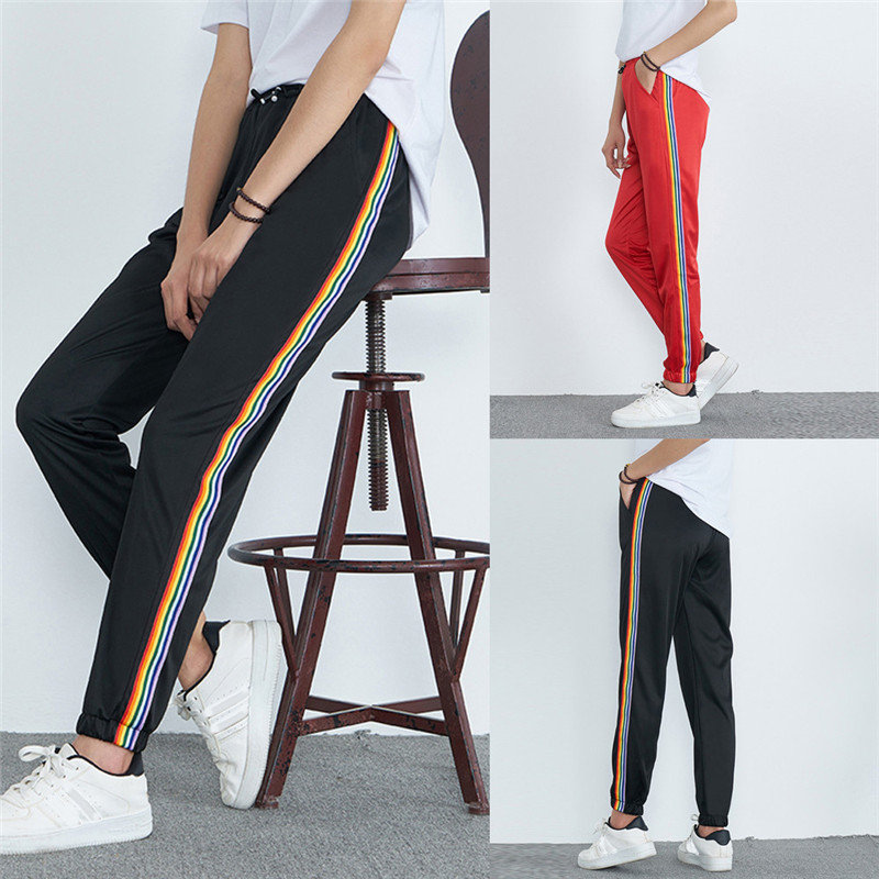 Для женщин со стандартной талией повседневные с принтом в полоску спортивные брюки шаровары штаны для пробежек полиэстер для женщин harajuku ...