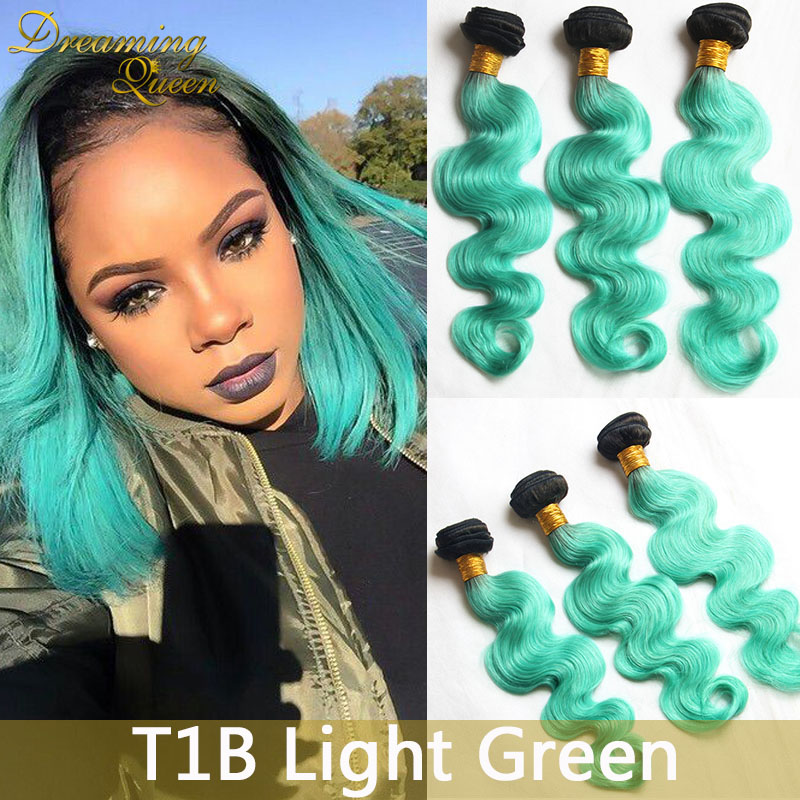 8a Mint Green Body Wave Hair Extensions Mongolian 3 Pcs 1b Mint