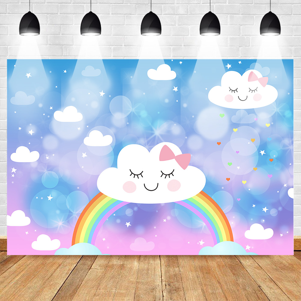 neoback rainbow backdrop for photography cartoon birthday party background baby shower lovely cloud blue sky stars photo shoot