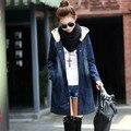 #3004 2016 Хлопок Тонкий Chaqueta Джинсовый жакет куртка Женщин весенняя Мода Джинсовая куртка женская Мода С Капюшоном Свободные Jaquetas