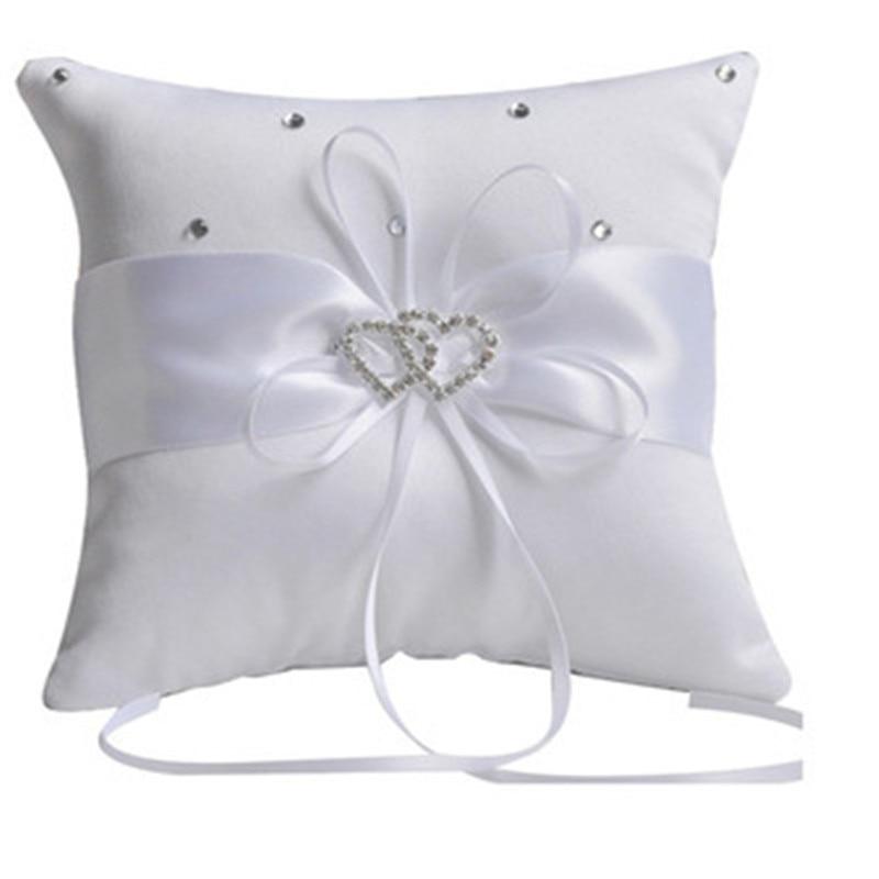 2018 Hot Sale New White Double Heart Rhinestone Ring Pillow With Satin Ribbon Ring Bearer Cushion 10*10cmWedding Supplies