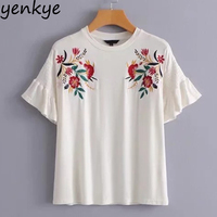 Summer Tops Floral Embroidery T Shirt Women Short Sleeve O Neck White Tee Shirt Femme Casual