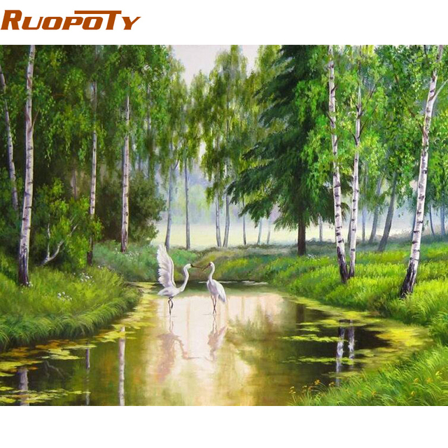 RUOPOTY Frame Green Forest River DIY Painting By Numbers Modern Wall Art Landscape Picture Paint By Numbers For Home Decor