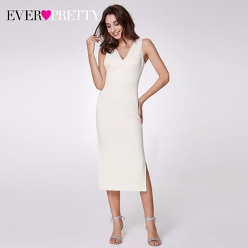 2019 Knitted Cocktail Dresses Ever Pretty EP07235 Women's Double V-Neck Bodycon Tea-Length White Cheap Cocktail Party Dresses Cocktail Dresses