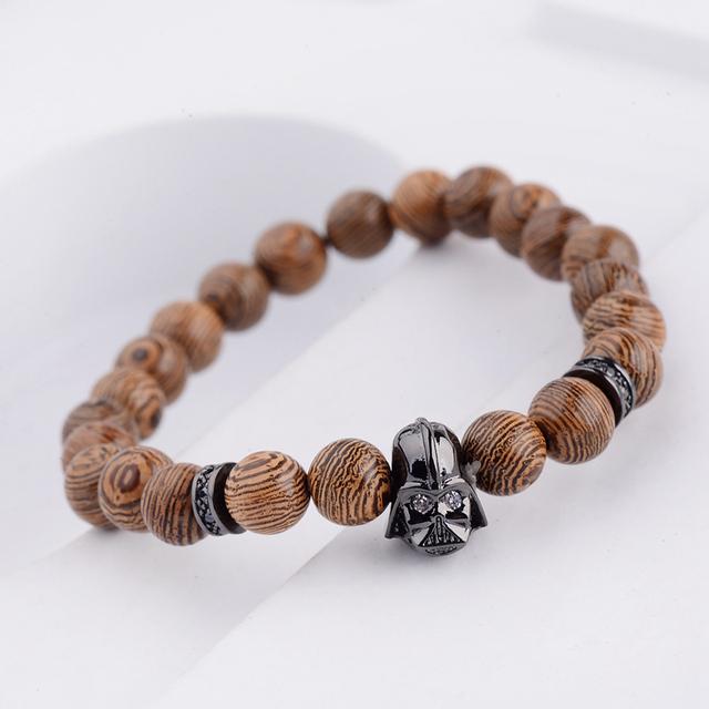 Darth Vader Wood Bead Bracelet