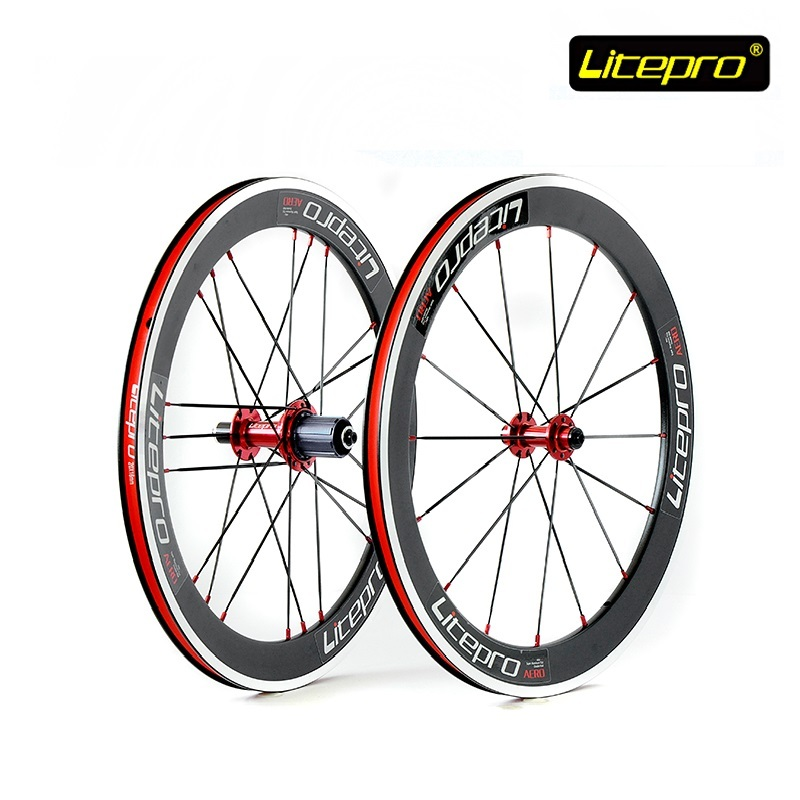 Bike V Brake Wheel set Litepro S42 20inch 406/451 Double well Rims 4 Bearing Hub Folding bike Road Bicycle Refiting Accessories