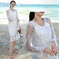 2017 summer beach dress mulheres moda flor bordado see-through white lace dress manga comprida