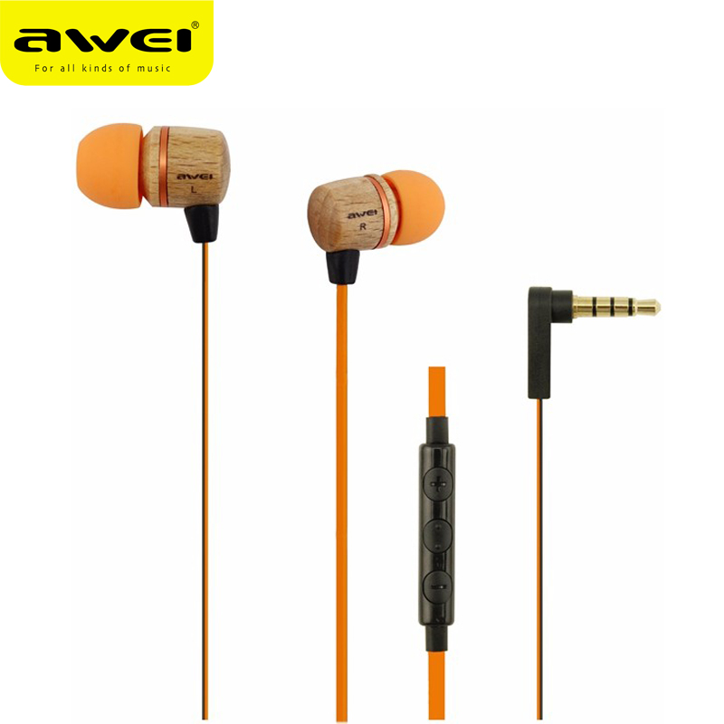 AWEI ES-16HI Wood Pattern In-Ear Stereo Earbuds Super Mega Bass Earphone Headset For iPhone Xiaomi Sony LG Samsung Mobile Phones original awei q9 bass earbuds 3 5mm in ear wooden earphone for iphone xiaomi samaung