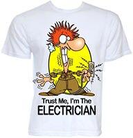 MENS GRAPPIG COOL NOVELTY ELEKTRICIEN SPARKY NIEUWE JOB T-SHIRTS JOKE GESCHENKEN PRESENTEERT Grappige Kleding Casual Korte T Shirts