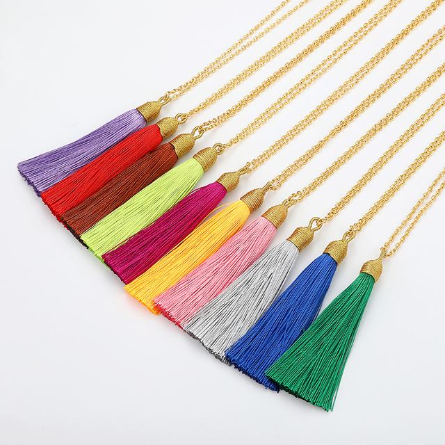 LOVBEAFAS Long Tassel Necklace Women Gold Chain 2019 Fashion Jewelry Boho Vintage Statement Fringe Bohemian Necklace Collier