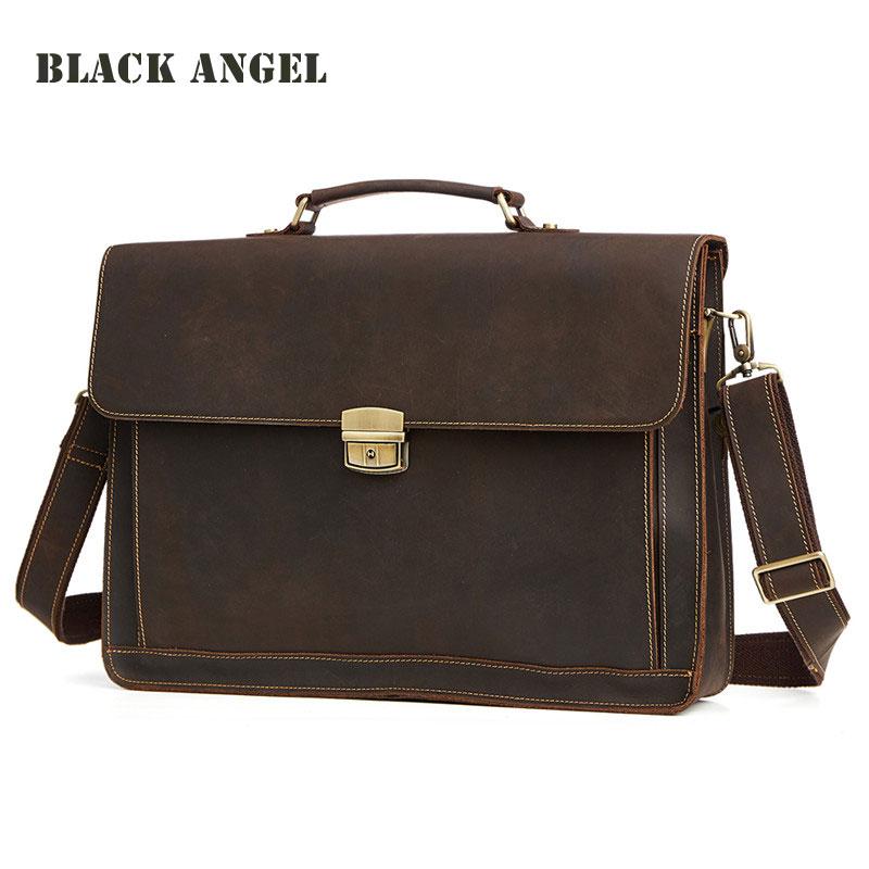BLACK ANGEL Men genuine leather briefcases laptop bags business men handbags Vintage shoulder messenger bags for