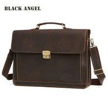 Черный Ангел Для мужчин Натуральная кожа Портфели Сумки для ноутбуков бизнес-Для мужчин сумки Винтаж плеча сумки для Для мужчин