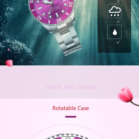 Women Watches Luxury TEVISE Automatic Watch Woman Rotatable Case Montre Femme Mechanical Ladies Wristwatches With Watchband Fix Multan